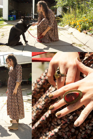 ruby and gold ring - bird skull ring - dress