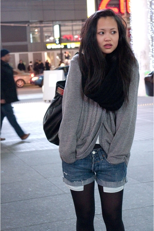 gray vintage sweater - blue Levis 502 shorts - black Wolford tights - black Marc