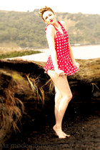 polka-dots red vintage swimwear