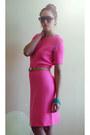 Hot-pink-bright-knit-vintage-dress