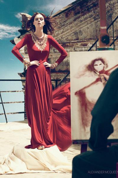 simple red Alexander McQueen dress - gold bracelet - necklace