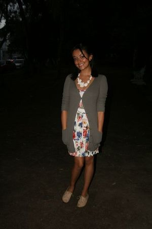 green pull&amp;bear cardigan - Zara dress - beige Dione shoes - white Fou Fou Chat n