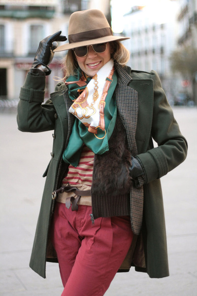 dark green pull&amp;bear scarf - forest green Primark coat