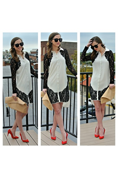 Zara heels - asos dress - super duper Karen Walker sunglasses
