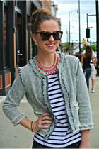 red statement ann taylor necklace - blue tweed Zara jacket