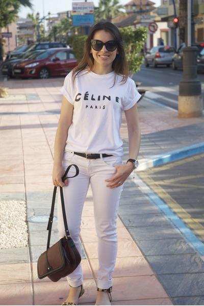 white Zara jeans - crimson Zara bag - black paname dior sunglasses