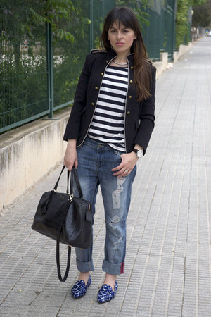 blue boyfriend Mango jeans - navy Zara jacket - black bowling Bimba &amp; Lola bag