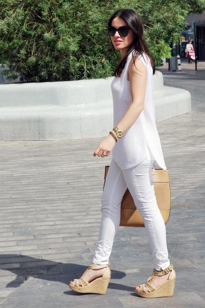 white Zara jeans - white Zara sweater - tan Zara bag - black dior sunglasses