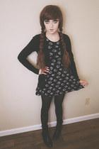 black floral print vintage dress - black Forever 21 tights