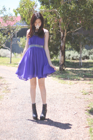 black Windor Smith boots - violet Valley Girl dress