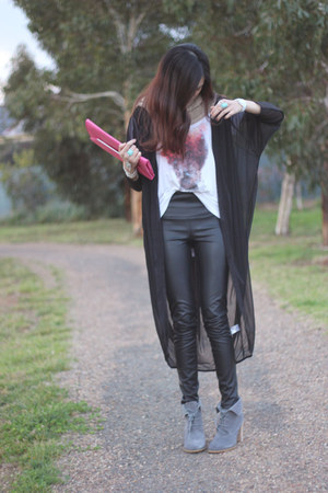tony bianco shoes - Mooks top - leather Dotti pants - sheer evil twin cardigan
