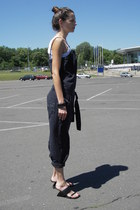 dark gray Diesel romper - white LOGG for H&M top - black united nude sandals
