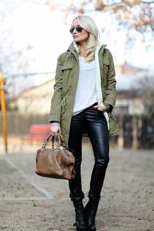 dark khaki Mango jacket - tan Zara bag - black Bershka pants