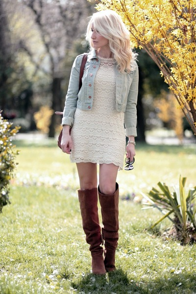 eggshell Zara dress - burnt orange Bershka boots - light blue H&M jacket