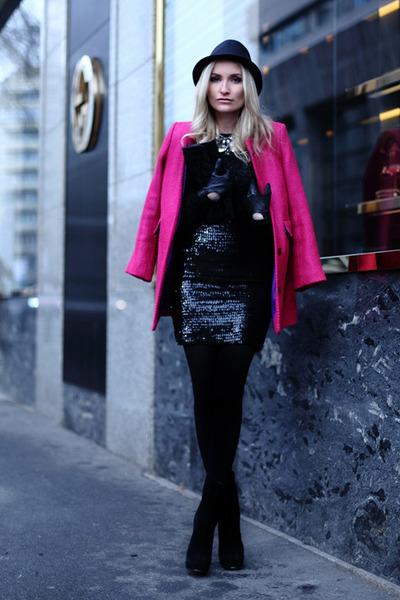 black Yves Saint Laurent boots - black Orsay skirt - black H&M blouse