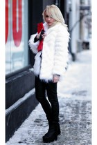 white Stradivarius coat - black H&M boots - black Pimkie leggings
