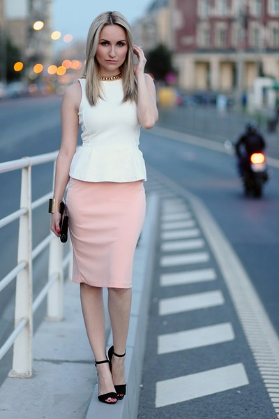 light pink orsay skirts ivory h m tops black zara heels