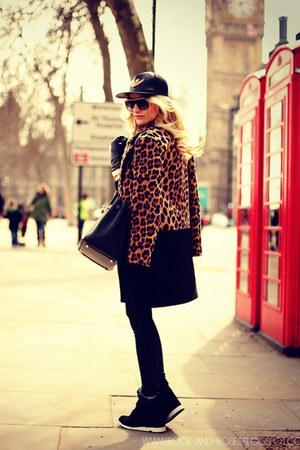 dark brown Zara coat - black Hermes bag - black Aldo sneakers