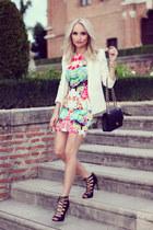 black Chanel purse - hot pink Sheinsidecom dress - white Mango blazer