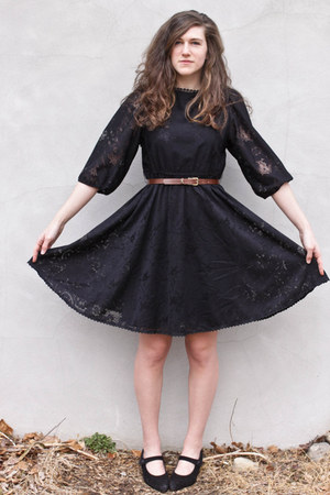 black lace thrifted vintage dress - dark brown leather thrifted vintage belt - b