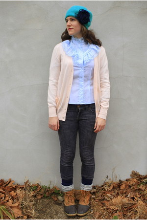 navy Old Navy jeans - light blue thrifted vintage blouse - tawny LL Bean boots -