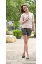 talbots cardigan - unknown shorts - vintange floral B Forman Co heels