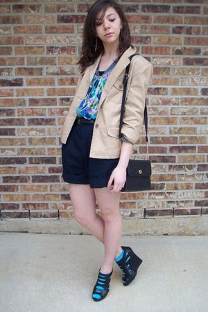 thrifted purse - thrifted shorts - moms jacket - urban orginal shoes - f21 sweat