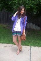 moms blazer - f21 skirt - crochet vest papaya - f21 purse