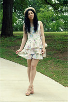 vintage dress - Forever21 hat - Vera Wang for Kohls wedges