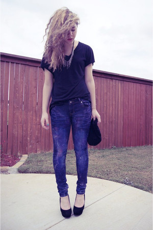 diy galaxy jeans jeans - black Bamboo wedges