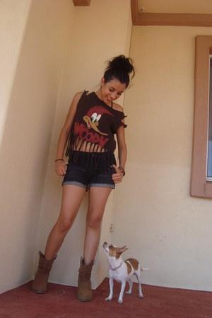 dark brown diy fringe t-shirt - light brown boots - Forever 21 shorts