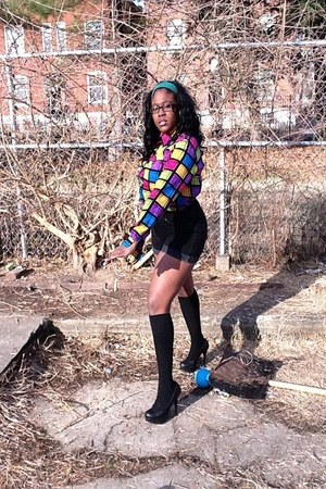 colorful blouse - black Helmut Lang shorts - black socks - black heels