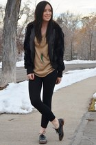 light brown sparkle Express top - black fur Forever21 jacket