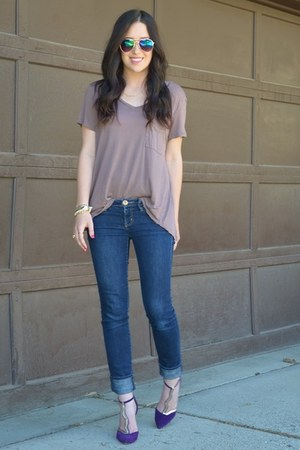 tan 14 &amp; Union shirt - deep purple modcloth heels