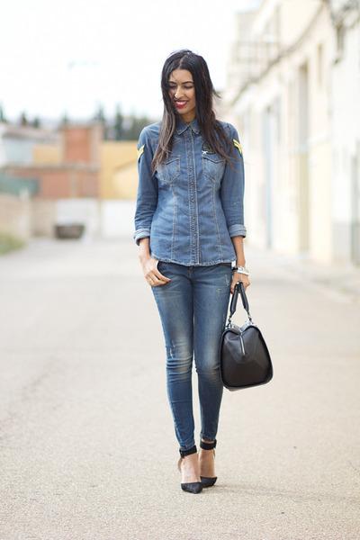 blue Bershka blouse - pull&bear jeans