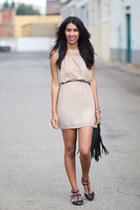 black Zara sandals - nude Sheinside dress