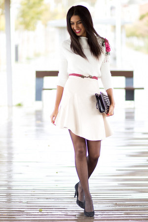 white Sheinside jumper - white Frontrowshop skirt