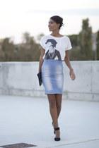 light blue BLANCO skirt - black Zara shoes