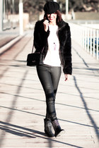 black Zara boots - black Formula Joven jacket - black Chanel bag