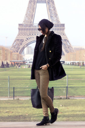 black BLANCO coat - dark khaki pull&bear pants