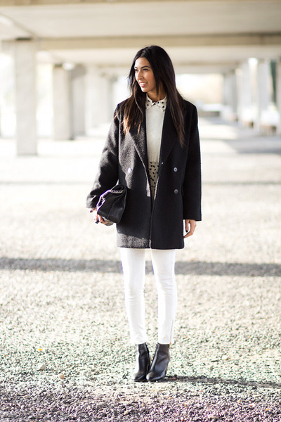 white Zara jeans - black Mango coat - white Sheinside blouse