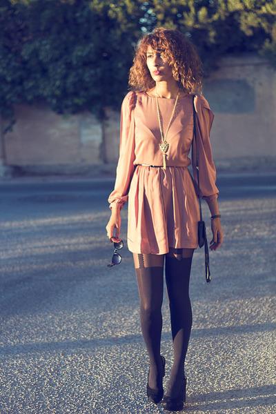 peach Primark dress - black Primark tights