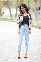 salmon Sheinside jacket - light blue Topshop jeans