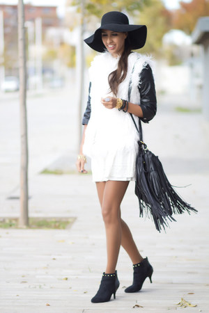 white Pull & Bear vest - white Bershka dress