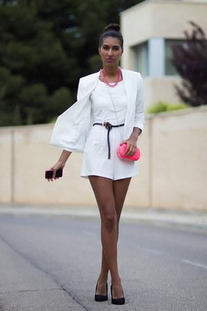 white AX Paris bodysuit - hot pink BLANCO bag - hot pink BLANCO necklace