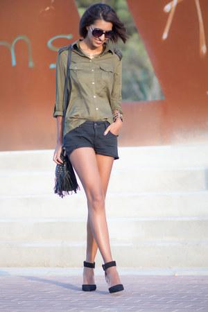 olive green Stradivarius blouse - black Zara shoes