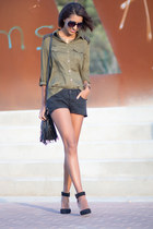 olive green Stradivarius blouse - black Zara shoes