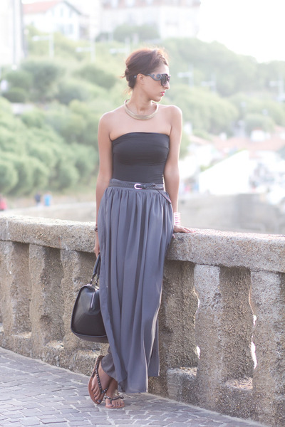 heather gray Primark skirt - black Bershka top