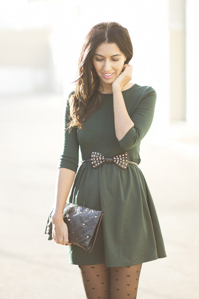 forest green Sheinside dress - black Zara belt