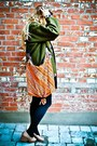 Forest-green-vintage-jacket-black-cos-scarf-carrot-orange-unknown-bag-blac
